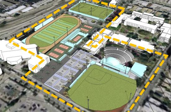 One of two conceptual layouts for $57 million in new athletic fields and facilities on the campus of Santa Monica High School (SaMoHi) which calls