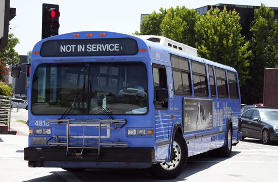 A Big Blue Bus vehicle near the City of Santa Monica's facility yard for the transportation fleet on May 25. Administrator's of the buses