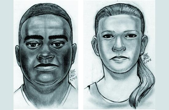 The main suspect (left) is a black male