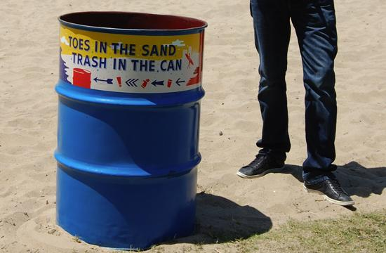 Heal the Bay has places trashcans along Santa Monica Beach which have QR codes on them