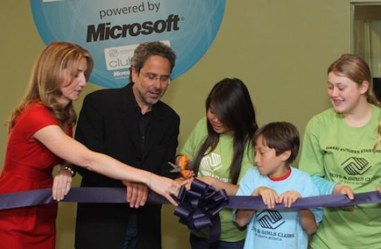 Mayor Richard Bloom helps kids from the Santa Monica Boys and Girls Club cut the ribbon for the new Center of Excellence on Wednesday.