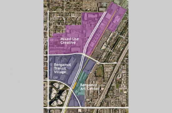 An aerial view of the Bergamot Area Plan which includes three sub-areas  which have been designated by the city for planning purposes.
