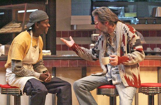 "(L-R)  Edi Gathegi as Franco and Gary Cole as Arthur in Tracy Letts' ""Superior Donuts."""
