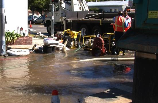 A crack in a water pipe led to the pipe bursting at the southeast corner of 21st and Ocean Park Boulevard.