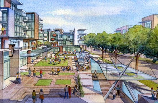 """An artist's rendering of the """"Grand Plaza"""