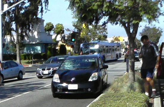 A photo of the windshield of a Prius that struck a woman on Pico Boulevard fatally injuring her.