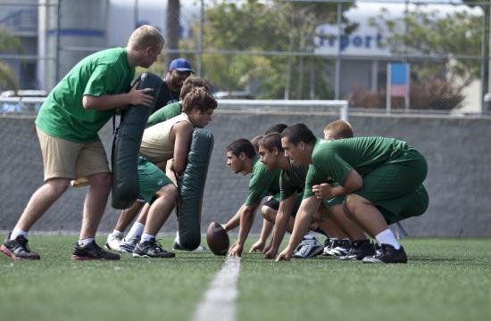The St. Monica Mariners' play in the trenches could help them adjust to the new pro-style offense in 2011.