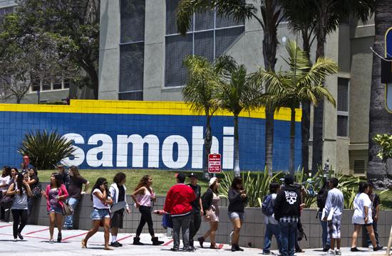 Students outside the south entrance to Santa Monica High School (SaMoHi)