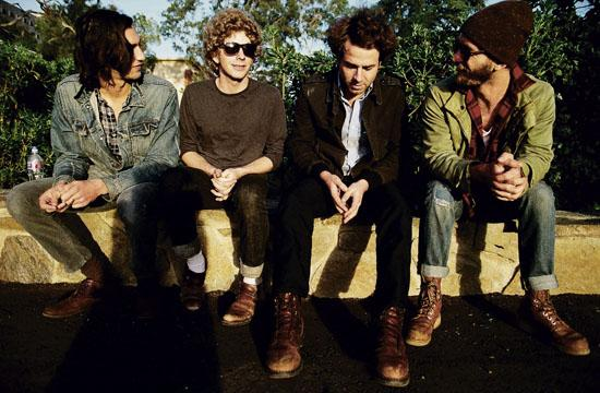 Left to right: Dawes band members Wylie Gelber