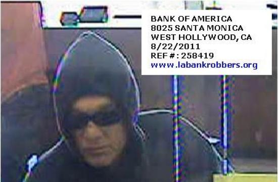 A screen shot from video surveillance during the West Hollywood robbery on Monday.