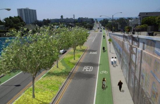 A rendering of a future bike way in Santa Monica.