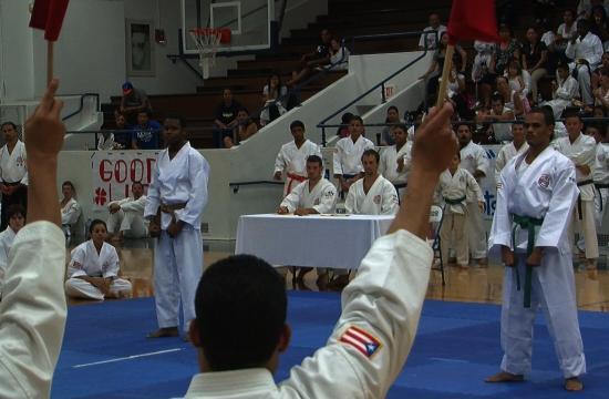 Judges award victory to a kata participant at the 5th Shorinji-Ryu Renshinkan Karate-Do Pan-American Championship at SaMoHi this past weekend.