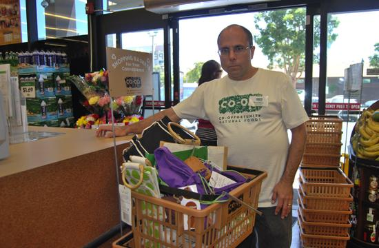 Bruce Palma of Santa Monica CO-OP encourages the use of reusable bags.