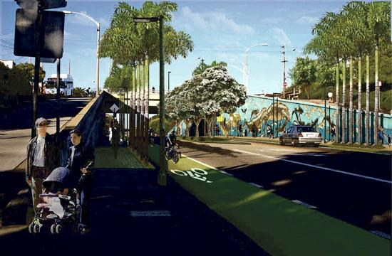 "A rendering of Ocean Park Boulevard's  ""Green Street"" project at 4th Street looking east."