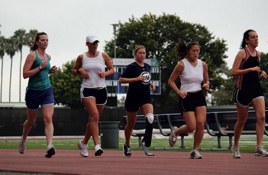 Danielle McLaughlin (center) will compete against other top paratriathletes in the ITU World Championship Race on Sept. 9.