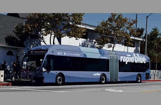 One of the 16 new articulated 60-foot Compressed Natural Gas buses introduced to the new Rapid 7 service.