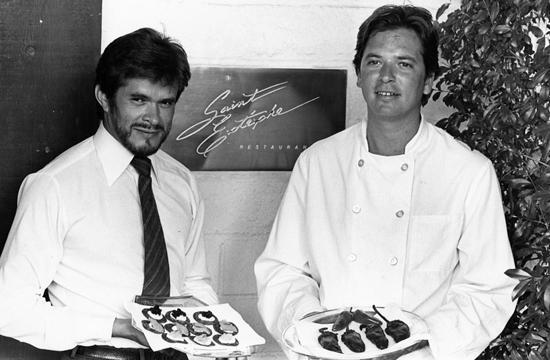 Saint Estèphe sommelier Steve Garcia and chef John Sedlar in the 1980s.