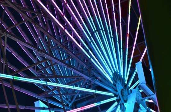 The Ferris wheel at Pacific Park is turning blue this weekend after the sun sets.