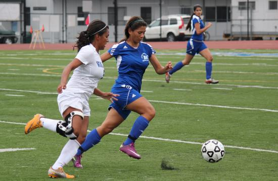 SMC's Vianca Barajas fields the ball in the Lady Corsairs' 2-1 loss to defending state champion San Bernadino Valley on Friday.