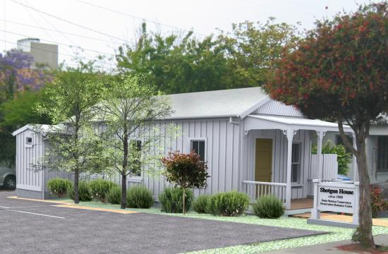 A rendering of the Preservation Resource Center of the completely rehabilitated Shotgun House.