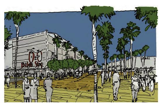 A sketch depicting the bike transit center.