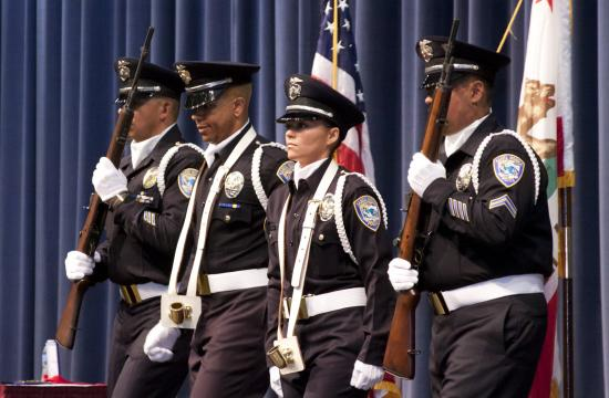 The ceremonial Honor Guard opens up Santa Monica Police Department's promotion/recognition and awards ceremony on Tuesday