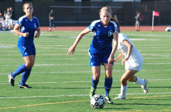 SMC's Desire Kober breaks into the open field against Allan Hancock College on Tuesday. Kober gave the Corsairs' their first lead of the season with the game's opening goal.