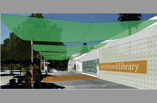 A rendering of the Pico Branch Library project.