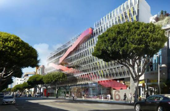 A rendering of the new parking structure 6