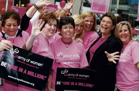 Dr. Susan Love with Army of Women members spreading awareness about breast cancer.