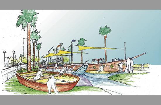 The Ship design references the playground's proximity to Santa Monica Bay