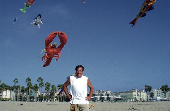 Wayne Brooks sets up kites on Santa Monica beach every other Sunday.