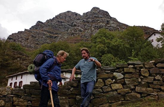 "Martin Sheen (left) takes direction from his son Emilio Estevez during the filming of ""The Way"" on location on The Camino de Santiago walk in Spain."