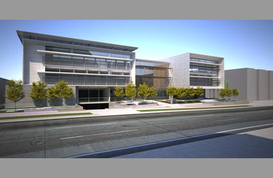 A rendering of the new Outpatient Surgery Center in Santa Monica.  The building is currently under construction and scheduled to be complete in early December.