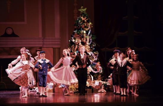 "The party scene in Westside Ballet of Santa Monica's ""The Nutcracker."""