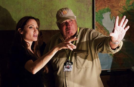 "Angelena Jolie and Director of Photography Dean Semler line-up a shot in the film ""The Land of Blood and Hone."