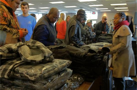 Guests received jackets at the holiday party on Tuesday.