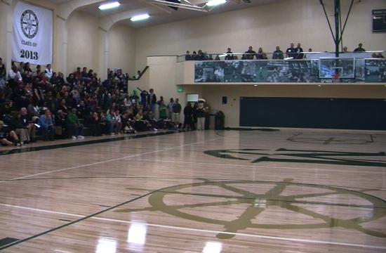 The St. Monica Mariners opened their new gym to a capacity crowd with a game against St. Anthony on Saturday night.