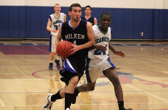 Milken's J.J. Friedman beats the Seawolves' defense on his way to the basket in Wildcats' 80-53 drubbing of Pacifica Christian on Tuesday night.