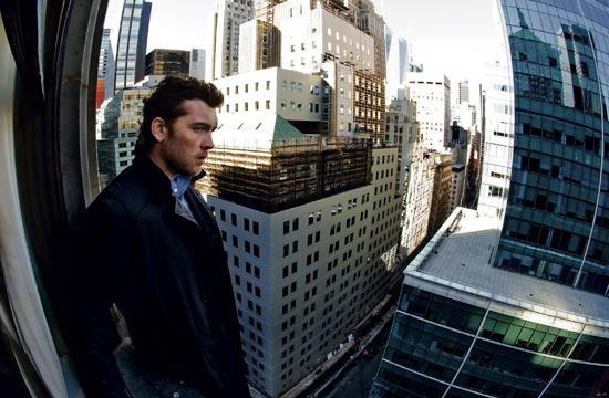 Sam Worthington as former NYPD officer Nick Cassidy stands on a ledge at the Roosevelt Hotel in New York 227 feet from the ground and threatens to jump.