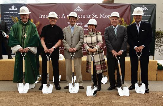 The groundbreaking ceremony for St. Monica Catholic Community's redevelopment and renovation project was held Sunday. From left: Bishop Edward W. Clark