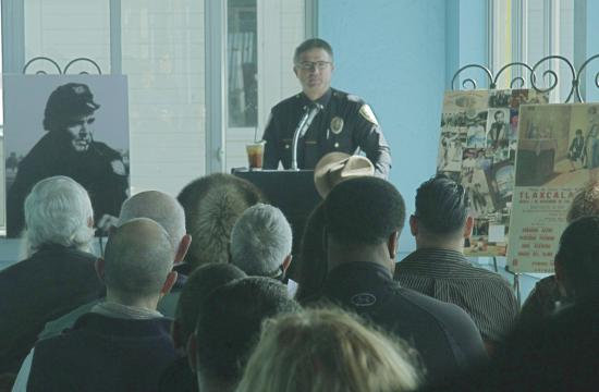 SMPD Lieutenant Steve Heineman spoke at the memorial service on Saturday.