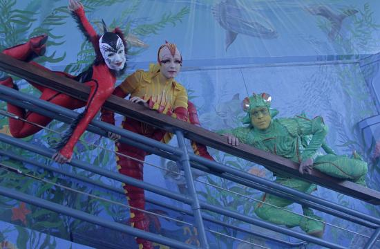 """The free Sundays will in particular celebrate crustaceans. Pictured are Cirque du Soleil's """"OVO"""" characters the Cricket (Green) Michel Boillet"""