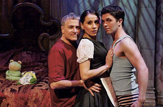 """From left: Barry Pearl as Roy Cohn with Presciliana Esparolini as Lizette and Jeffrey Scott Parsons as young Roy in """"Hunger: In Bed With Roy Cohn"""" on stage at the Odyssey Theatre."""