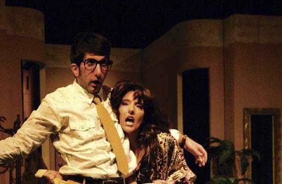 Allan (David Lengel) imagines a date with Dream Sharon (Elaine O'B. Capogeannis).