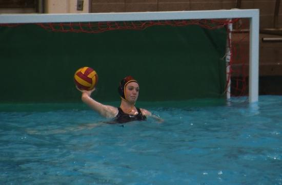 Samohi's Marina Krauss throws the ball in after one of her 15 saves that sprung the Vikings to a 5-1 win over Beverly Hills on Wednesday.