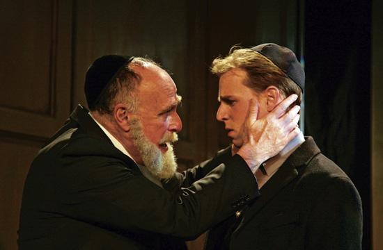 """Richard Fancy (left) as Rabbi Saul Levy Montera and Marco Naggar as Baruch de Spinoza in David Ives' """"New Jerusalem"""" on stage at the Pico Playhouse."""