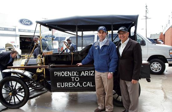 General Manager of Harper Ford Trevor Harper (left) and Santa Monica Ford owner Ron Davis in front of the 1912 Ford Model-T on Wednesday.
