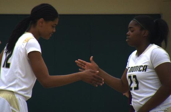 St. Monica's Melissa Maragnes (left) and Briana Harris (right) combined for 59 points and 25 rebounds in the Lady Mariners' CIF first round win over Loma Linda Academy on Thursday night.