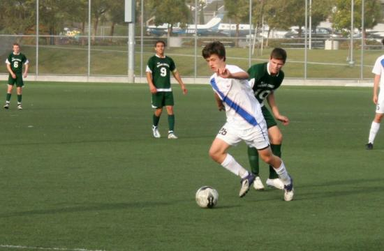 Crossroads' Nate Merchant moves the ball against Ontario Christian in the Roadrunners' 4-3 CIF win on Tuesday.